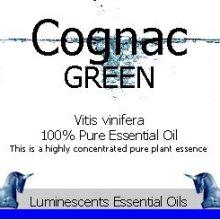 cognac green essential oil label