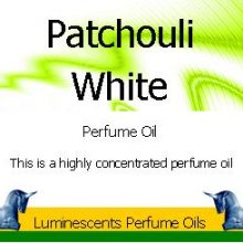 white patchouli perfume oil label