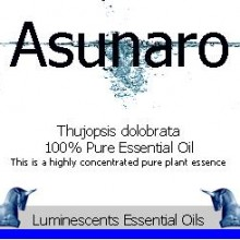Asunaro essential oil label