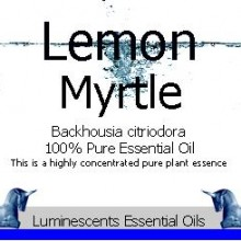 lemon myrtle essential oil label