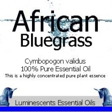African Bluegrass essential oil label