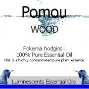Pomou Wood Essential Oil Label