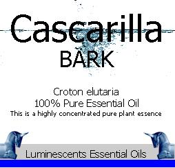 cascarilla bark essential oil label