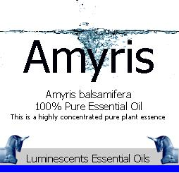 Amyris essential oil label