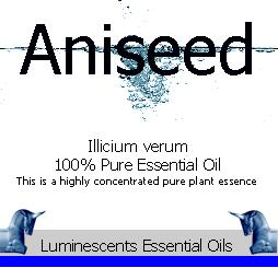 Aniseed essential oil label
