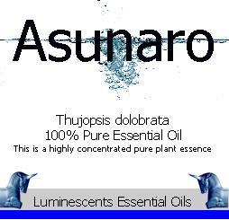 Asunaro essential oil label