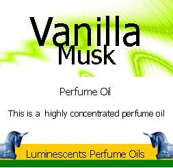 Vanilla musk perfume oil label