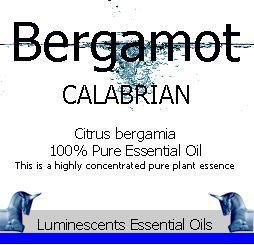 bergamot calabrian essential oil label