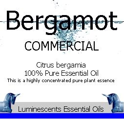 bergamot commercial essential oil label