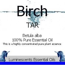 Birch Tar essential oil label