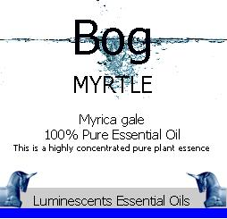 bog myrtle essential oil label