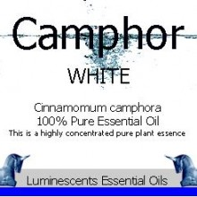 white camphor essential oil label