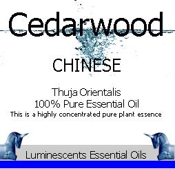 Cedarwood Chinese essential oil label