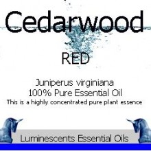 Red Cedarwood essential oil label