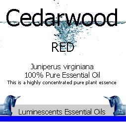 Red Cedarwood essential oil label