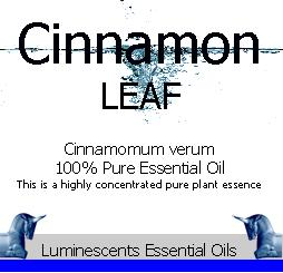 cinnamon leaf essential oil label