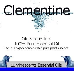 clementine essential oil label