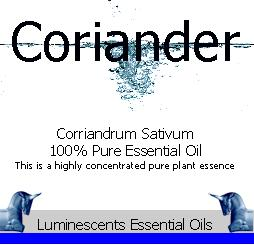 coriander essential oil label