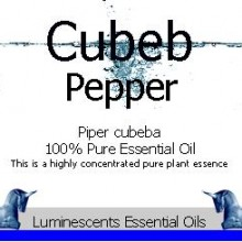 cubeb pepper essential oil label