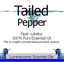 tailed pepper essential oil label