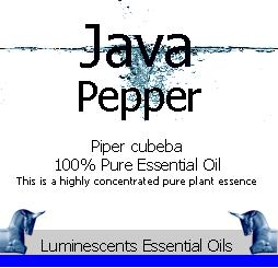 Java Pepper essential oil label