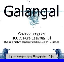 galangal essential oil label