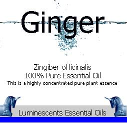 ginger essential oil label