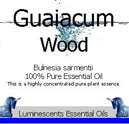 guaiacum wood essential oil label