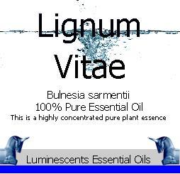 lignum vitae essential oil label