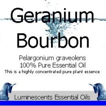 bourbon geranium essential oil label