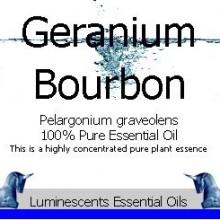 bourbon geranium essential oil label