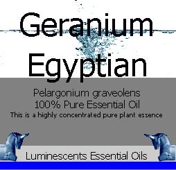 egyptian geranium essential oil label