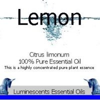 lemon essential oil label
