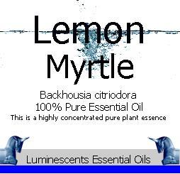 lemon myrtle essential oil label