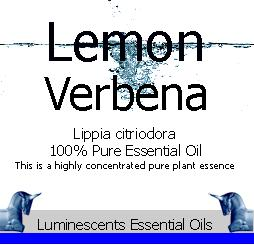 lemon verbena essential oil label