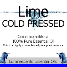 Lime cold pressed essential oil label