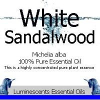 white sandalwood essential oil label