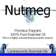 Nutmeg essential oil label
