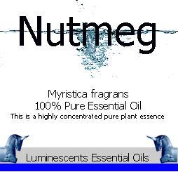 Nutmeg essential oil label