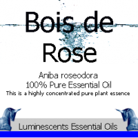bois de rose essential oil label