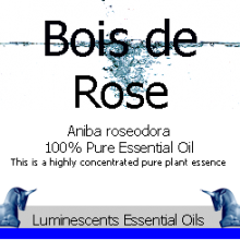 bois de rose essential oil label