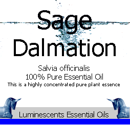 sage dalmatian essential oil label