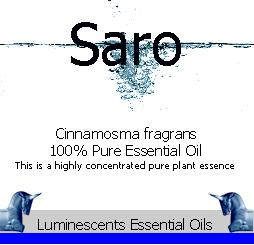 saro essential oil label