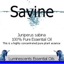 savine essential oil label