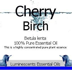 cherry birch essential oil label