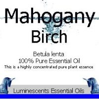 mahogany birch essential oil label