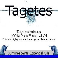 tagetes essential oil label