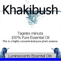 khakibush essential oil label