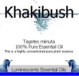 khakibush essential oil label