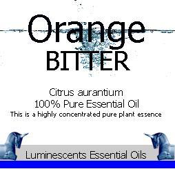 bitter orange essential oil label